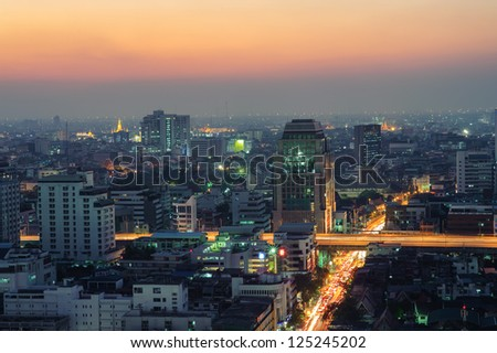 Bangkok downtown top View at Night - stock photo