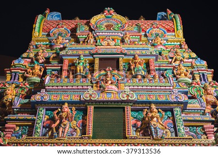 BANGKOK  :  Entrance of Sri Maha Mariamman temple on February 19, 2016 in Bangkok at night . Thai people call Wat Khaek Silom