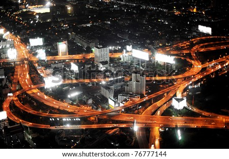 Bangkok Expressway and Highway, aerial view at night, Thailand - stock photo