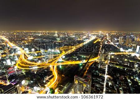 Bangkok Expressway and Highway top view at dusk, Thailand - stock photo