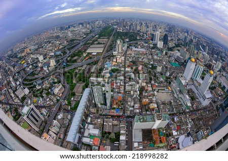 Bangkok Expressway and Highway top view of Thailand, with Fisheye lens at twilight. - stock photo