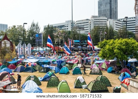 BANGKOK - FEBRUARY 2: Protesters camp site at Victory monument during Thailand's protest against the government at central Bangkok on February 2, 2014 in Bangkok, Thailand. - stock photo