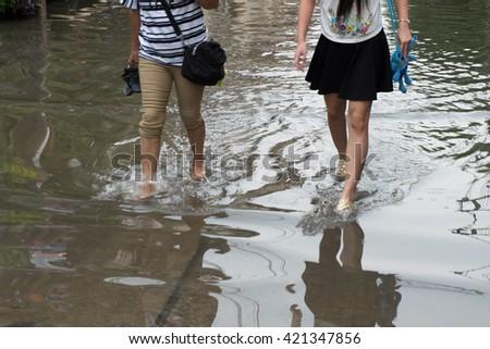 Bangkok flood May 16, 2016,Thailand,Asia. - stock photo