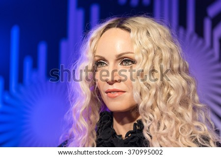 BANGKOK-JAN 29:: A waxwork of Madonna on display at Madame Tussauds on January 29, 2016 in Bangkok, Thailand. Madame Tussauds' newest branch hosts waxworks of numerous stars and celebrities - stock photo