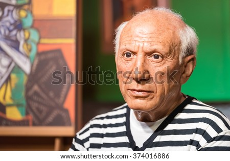 BANGKOK - JAN 29: A waxwork of Pablo Picasso on display at Madame Tussauds on January 29, 2016 in Bangkok, Thailand. Madame Tussauds' newest branch hosts waxworks of numerous stars and celebrities - stock photo