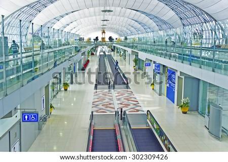 BANGKOK - JAN 5, 2010: departure terminal of Bangkok Suvarnabhumi International Airport  in Bangkok, Thailand. The airport is handling about 45 million passengers annually. - stock photo