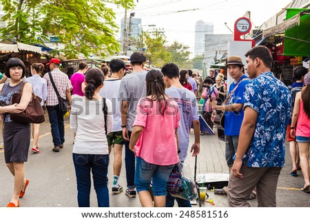 BANGKOK - JAN 25: Shop at Chatuchak Weekend Market January 25, 2015 in Bangkok, Thailand. The Thai capital's Chatuchak is the world's largest outdoor street markets with 15,000 stalls. - stock photo