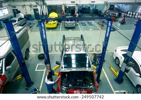 BANGKOK - JAN 31: Top view of the workshop service station in Bangkok on January 31, 2015, Thailand. The official dealer of Toyota, who is the top market share for commercial car. - stock photo