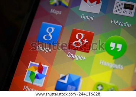BANGKOK-JANUARY11 2015: Google Plus Icon on Phone.  Google Plus is a social networking and identity service[3][4] that is owned and operated by Google Inc.