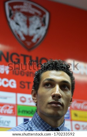 BANGKOK - JANUARY 8: Jay Bothroyd footballer from England during opening the new player of Muangthong United at SCG Stadium on January 8, 2014 in Bangkok.  - stock photo