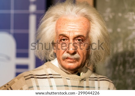 BANGKOK - JUL 22: A waxwork of Albert Einstein on display at Madame Tussauds on July 22, 2015 in Bangkok, Thailand. Madame Tussauds' newest branch hosts waxworks of numerous stars and celebrities. - stock photo