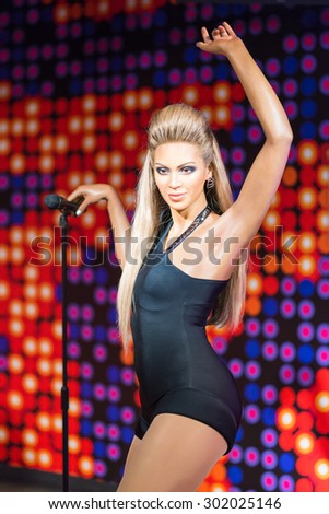 BANGKOK-JUL 22:: A waxwork of Beyonce Knowles on display at Madame Tussauds on on July 22, 2015 in Bangkok, Thailand. Madame Tussauds' newest branch hosts waxworks of numerous stars and celebrities - stock photo