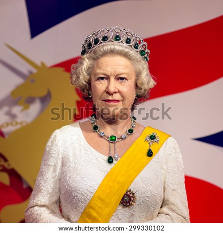 BANGKOK -JUL 22: A waxwork of Queen Elizabeth on display at Madame Tussauds on July 22, 2015 in Bangkok, Thailand. Madame Tussauds' newest branch hosts waxworks of numerous stars and celebrities - stock photo