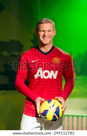BANGKOK - JUL 22: A waxwork of Wayne Rooney on display at Madame Tussauds on July 22, 2015 in Bangkok, Thailand. Madame Tussauds' newest branch hosts waxworks of numerous stars and celebrities. - stock photo