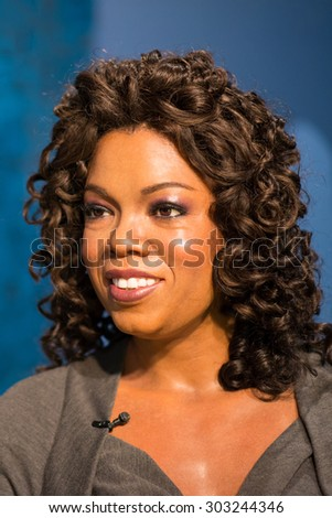 BANGKOK -JULY 22: A waxwork of Oprah Winfrey on display at Madame Tussauds on July 22, 2015 in Bangkok, Thailand. Madame Tussauds' newest branch hosts waxworks of numerous stars and celebrities - stock photo
