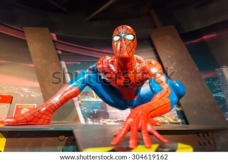 BANGKOK -JULY 22: A waxwork of Spiderman on display at Madame Tussauds on July 22, 2015 in Bangkok, Thailand. Madame Tussauds' newest branch hosts waxworks of numerous stars and celebrities - stock photo