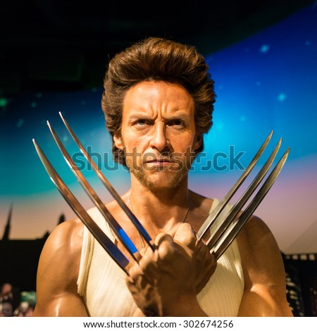 BANGKOK -JULY 22: A waxwork of Wolverine on display at Madame Tussauds on July 22, 2015 in Bangkok, Thailand. Madame Tussauds' newest branch hosts waxworks of numerous stars and celebrities - stock photo