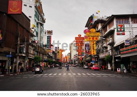 BANGKOK - 29 July: Gloomy weather in China Town in Bangkok on 29 July 2007. China town is one of the biggest district of Bangkok. - stock photo