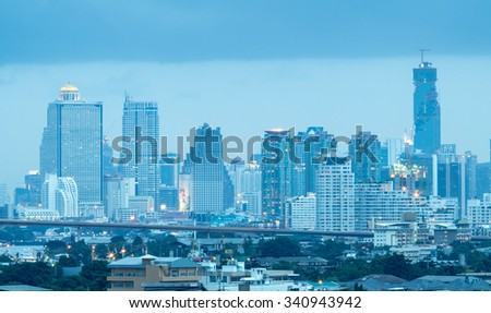BANGKOK - JULY 15: Skyscraper buildings in Bangkok, Thailand, before cloudy rain storm, on July 15, 2015.