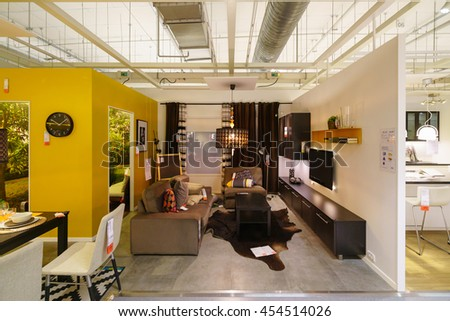 BANGKOK - JUN 26 : Sample of the living room interior at Ikea , Mega Bangna on Jun 26, 2016. Founded in Sweden in 1943, Ikea is the world's largest furniture retailer. - stock photo