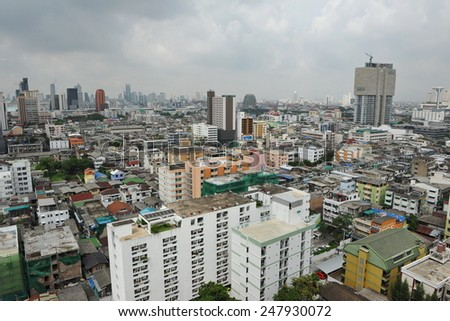 BANGKOK - JUN 5:  View of the Thai capital's sprawling skyline on Jun 5, 2013 in Bangkok, Thailand. The city is developing rapidly with 8.3m inhabitants and an economy worth 29% of the country's GDP.
