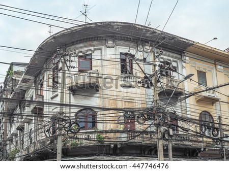 BANGKOK: JUNE 2: The chaos of cables and wires on every street on June 2, 2016 in Bangkok, Thailand.