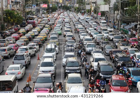 car pollution stock images royalty images vectors bangkok 3 traffic jam in the rush hour at the askoe intersection on