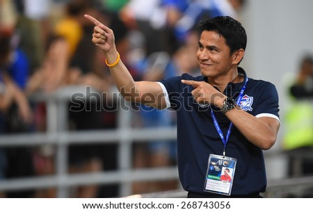 BANGKOK, MAR 27:Kiatisuk.S head coach of Thailand in action after AFC U-23 Championship 2016 (Qualifiers) between Thailand and Cambodia at Rajamangala stadium on March 27, 2015 in Bangkok, Thailand.