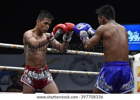 BANGKOK - MAR13: Phet Narin Athikhom Gym (Red)(Win) fights with Phet Michai Phet Saman Muaythai in thai boxing competition - Battle Of Sor.Sommai  at Rajadamnern stadium on March 13, 2016 in Bangkok.