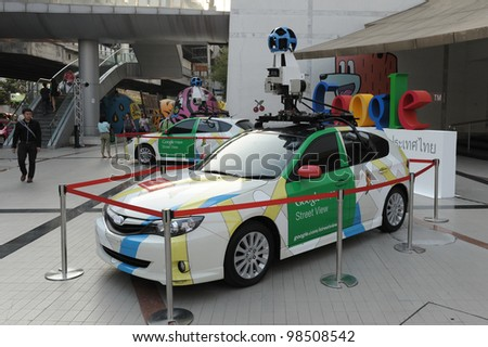 BANGKOK - MARCH 22: A Google Maps car on view in central Bangkok as the internet giant announces the Thai capital has been added to its Street View utility on March 22, 2012 in Bangkok, Thailand. - stock photo