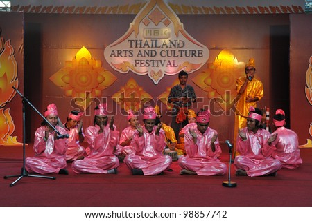 BANGKOK - MARCH 20: A Javanese keplok handclap band perform at the Thailand Arts and Culture Festival on March 20, 2012 in Bangkok, Thailand. The festival attracts cultural performances from SE Asia.