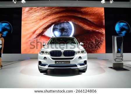 BANGKOK - March 26 : BMW concept X5 eDrive, Hybrid SUV Vehicle, on DisPlay at 36th Bangkok International Motor Show on March 26, 2015 in Bangkok, Thailand. - stock photo