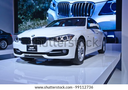 BANGKOK - MARCH 30: BMW 320d   car on display at  The 33th Bangkok International Motor Show on March 30,  2012 in Bangkok, Thailand. - stock photo