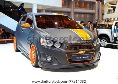 BANGKOK - MARCH 31: Chevrolet shows a matt-black Sonic at the 33rd Bangkok International Motor Show at Impact Challenger on March 31, 2012 in Bangkok, Thailand.