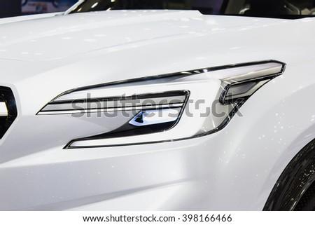 """Bangkok , 22 March 2016 , Cloase up headlight New Subaru future concept,Thailand The 37th Bangkok International Motor Show 2016"""" at Impact Arena, MaungThong Thanee, Bangkok on 23 March -3 April 2016 - stock photo"""