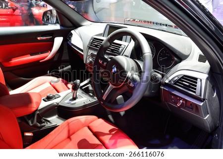 BANGKOK - March 26 : Interior design of Passenger room of BMW 116i on DisPlay at 36th Bangkok International Motor Show, on March 26, 2015 in Bangkok, Thailand. - stock photo