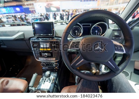 BANGKOK - MARCH 25 : interior of Mercedes Benz new G Class on display at The 35th Bangkok International Motor Show on March 25, 2014 in Nonthaburi, Thailand.