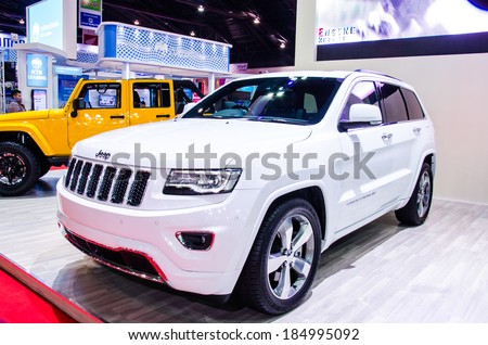 BANGKOK - MARCH 24: Jeep Grand Cherokee car on display at The 35th Bangkok International Motor Show on March 24, 2014 in Bangkok, Thailand.