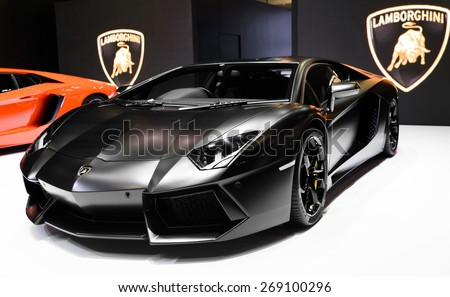 "BANGKOK - MARCH 24 : Lamborghini Aventador on display at The 36th Bangkok International Motor Show ""Art of Auto"" on March 24, 2015 in Bangkok, Thailand. - stock photo"