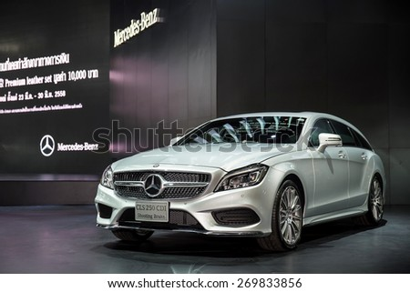 BANGKOK - March 29, 2015 : Mercedes-Benz CLS 250 CDI car on display at The 36th Bangkok International Motor show on March 29, 2015 in Bangkok, Thailand. - stock photo