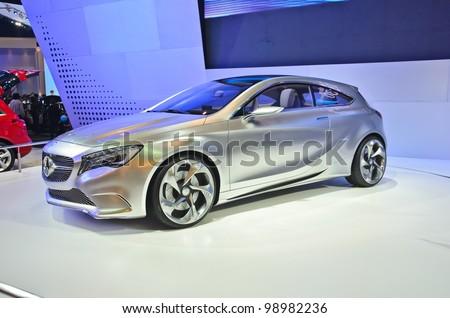 BANGKOK - MARCH 30: Mercedes-Benz concept A  car on display at The 33th Bangkok International Motor Show on March 30, 2012 in Bangkok, Thailand - stock photo