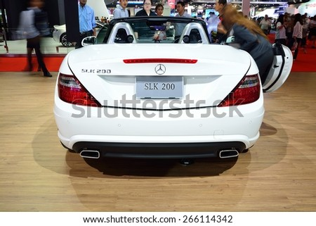 BANGKOK - March 26 : Mercedes Benz SLK 200 Carbon Look, Sport convertible car, on DisPlay at 36th Bangkok International Motor Show on March 26, 2015 in Bangkok, Thailand. - stock photo