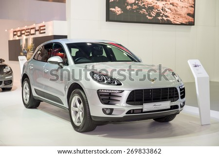 BANGKOK - March 29, 2015 : Porsche Marcan car on display at The 36th Bangkok International Motor show on March 29, 2015 in Bangkok, Thailand.