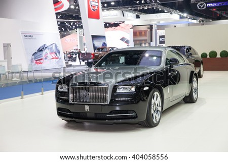 BANGKOK - MARCH 22: Roll Royce car on display at The 37 th Thailand Bangkok International  Motor Show  on March 22, 2016 in Bangkok, Thailand.