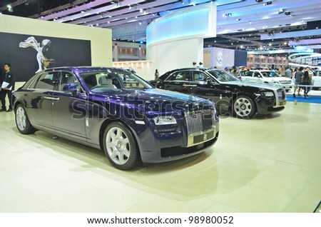 BANGKOK - MARCH 30: Rolls-Royce car on display at The 33th Bangkok International Motor Show on March 30, 2012 in Bangkok, Thailand. - stock photo