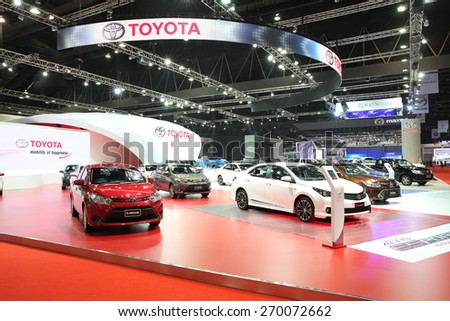 BANGKOK - MARCH 25: Showroom of Toyota car  at The 36 th Bangkok International Motor Show on March 25, 2015 in Bangkok, Thailand. - stock photo