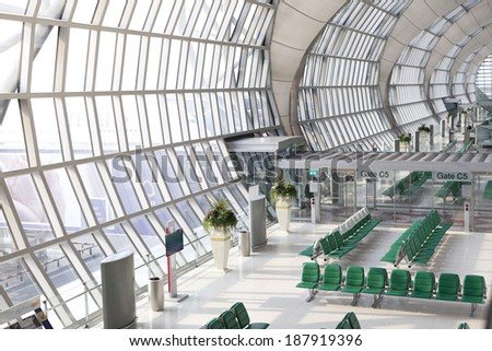 BANGKOK - MARCH 26 : The main concourse of Suvarnabhumi Airport, designed by Helmut Jahn is the world's third largest single-building airport terminal on March 26, 2014 in Bangkok, Thailand. - stock photo