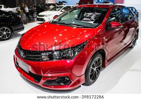 "Bangkok , 22 March 2016 , Toyota Corolla Altis New concept,Thailand The 37th Bangkok International Motor Show 2016"" at Impact Arena, MaungThong Thanee, Bangkok on 23 March -3 April 2016 - stock photo"