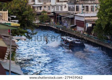 BANGKOK - MAY 18: A canal boat on Klong Saen Saep Runs from Panfah to Bobe May 18, 2015 in Bangkok, Thailand. Klong Saen Saep canal - stock photo