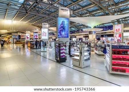 BANGKOK- MAY 4 : Duty free shop at Suvanaphumi Airport, Bangkok on May 4, 14. Suvarnabhumi airport is world's 4th largest single-building airport terminal. - stock photo